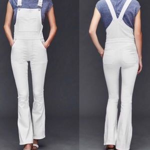 Gap 69 White Denim Flare Overalls